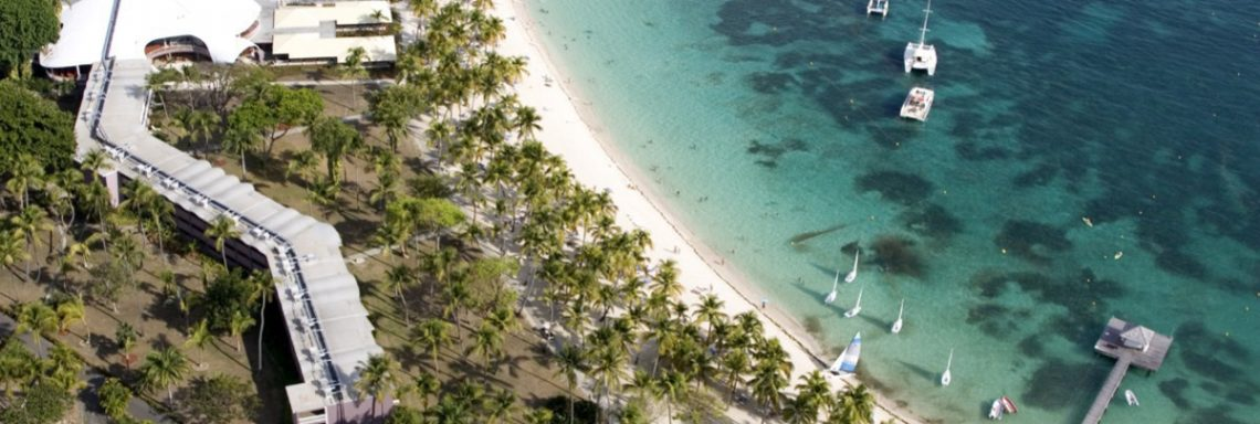 Aerial view of the beach at Club Med La Caravelle in Guadeloupe