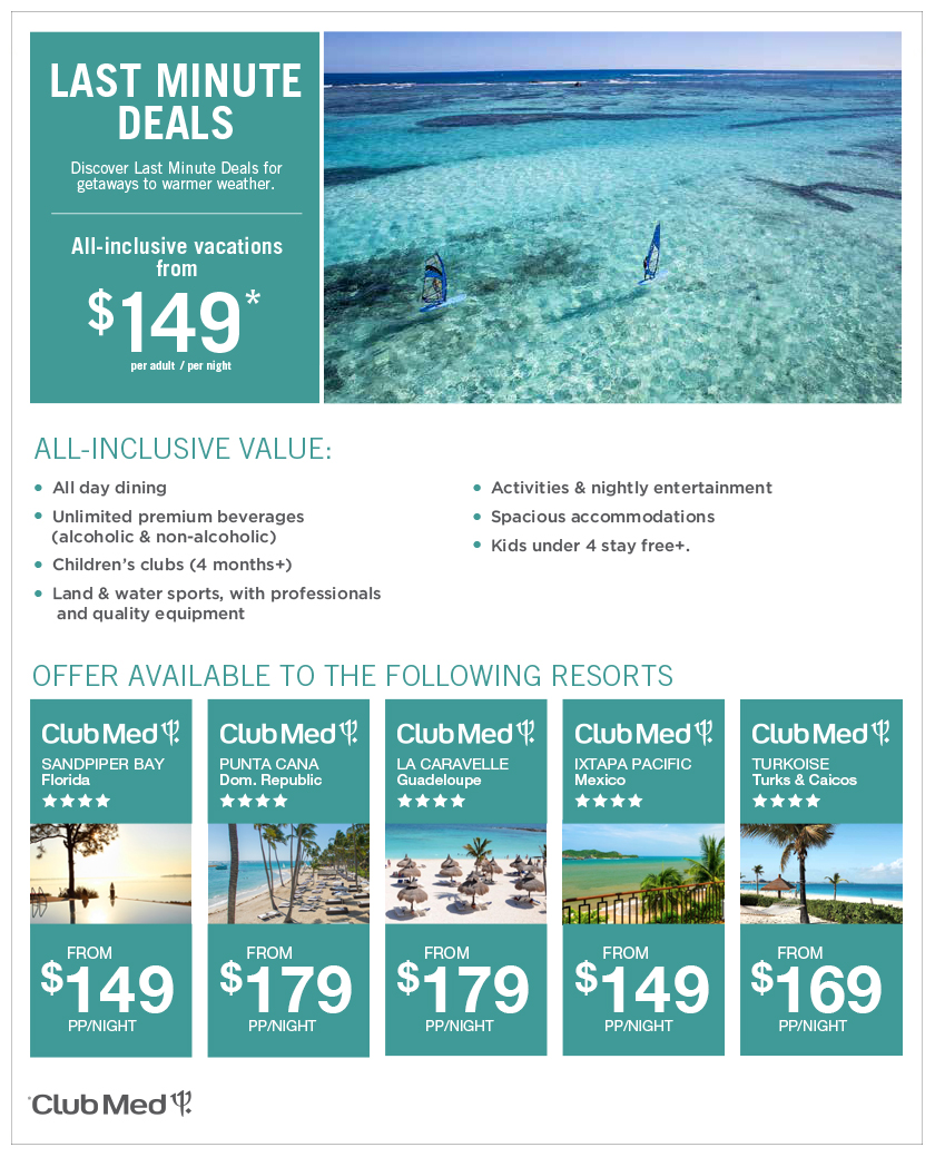 Club Med Last minute Great Deals