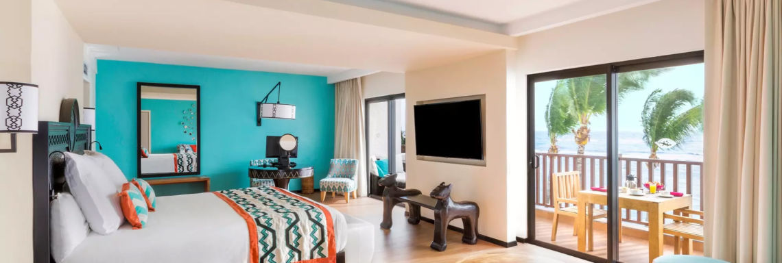 Club Med Cancun Yucatan, Mexico - Image of the interior of a suite in an exclusive space, in bright colors