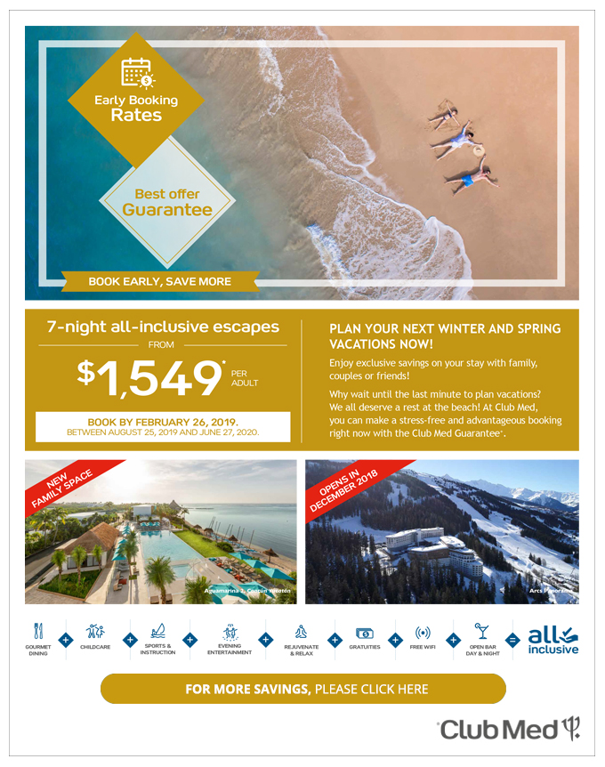 Club Med <br>Early booking rate Sale!