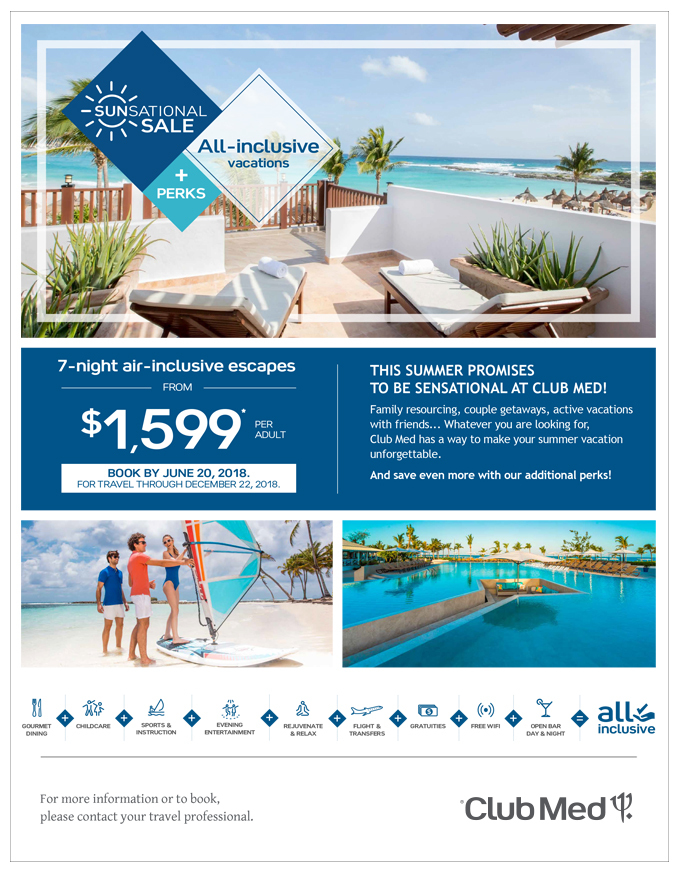 Club Med<br>SUN SATIONAL SALE!