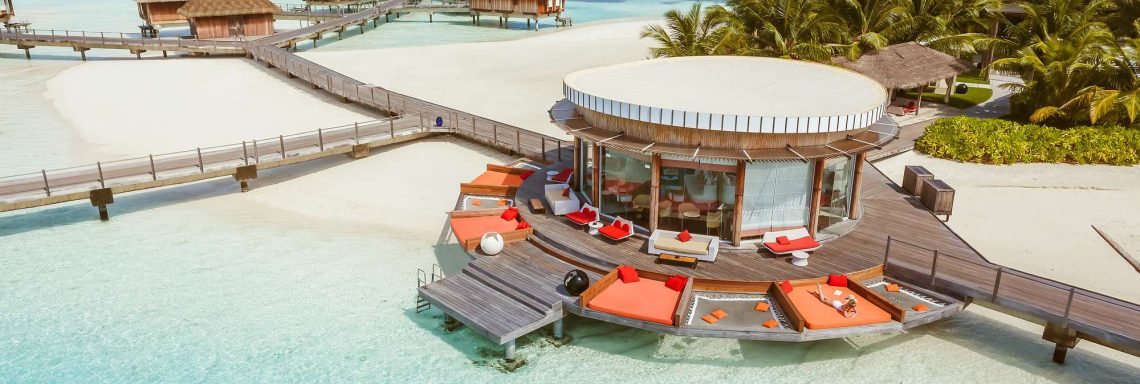 Club Med Kani, Maldives - Aerial view of a beach bungalow.