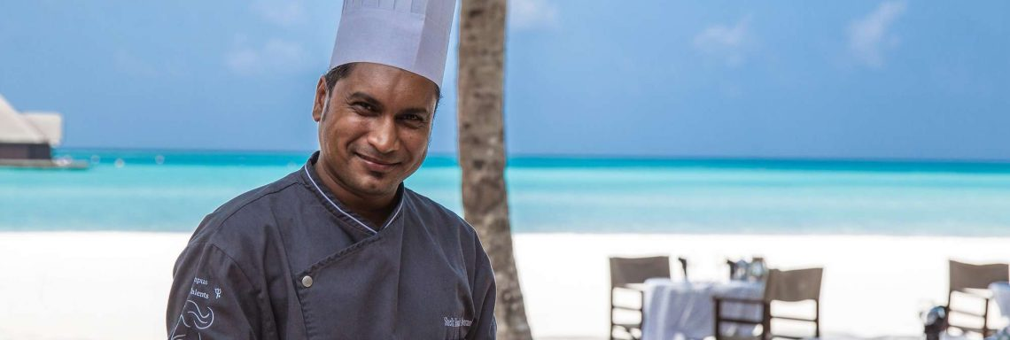 Club Med Kani, Maldives - A chef presents a platter of appetizers to taste.