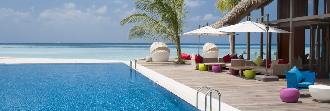 Club Med Kani, Maldives - View of the outdoor pool facing the ocean.