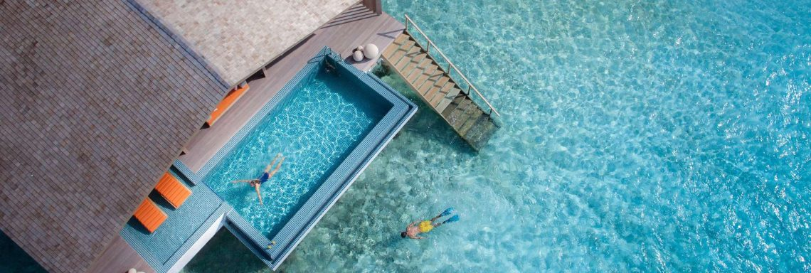 Club Med Villas in FInolhu, Maldives - Aerial view of a private villa on the turquoise blue lagoon