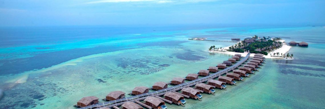Club Med Villas de FInolhu, Maldives - Aerial view of Finolhu Villas in the turquoise blue lagoon