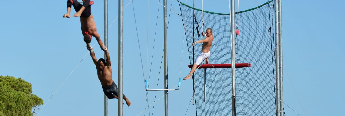 Club Med Da Balaia, Portugal - People enjoying a flying trapeze activity during the day