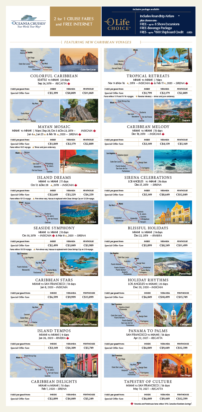 2 for 1 CRUISE FARES