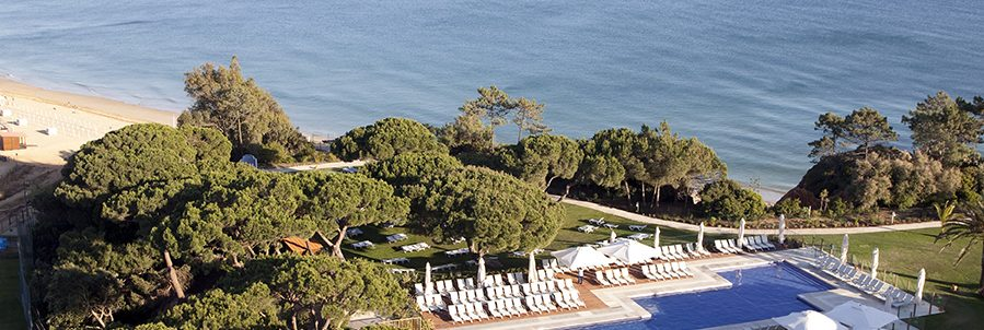 Club Med Da Balaia, Portugal - Aerial photo of the exterior pool in the center of the complex facing the sea