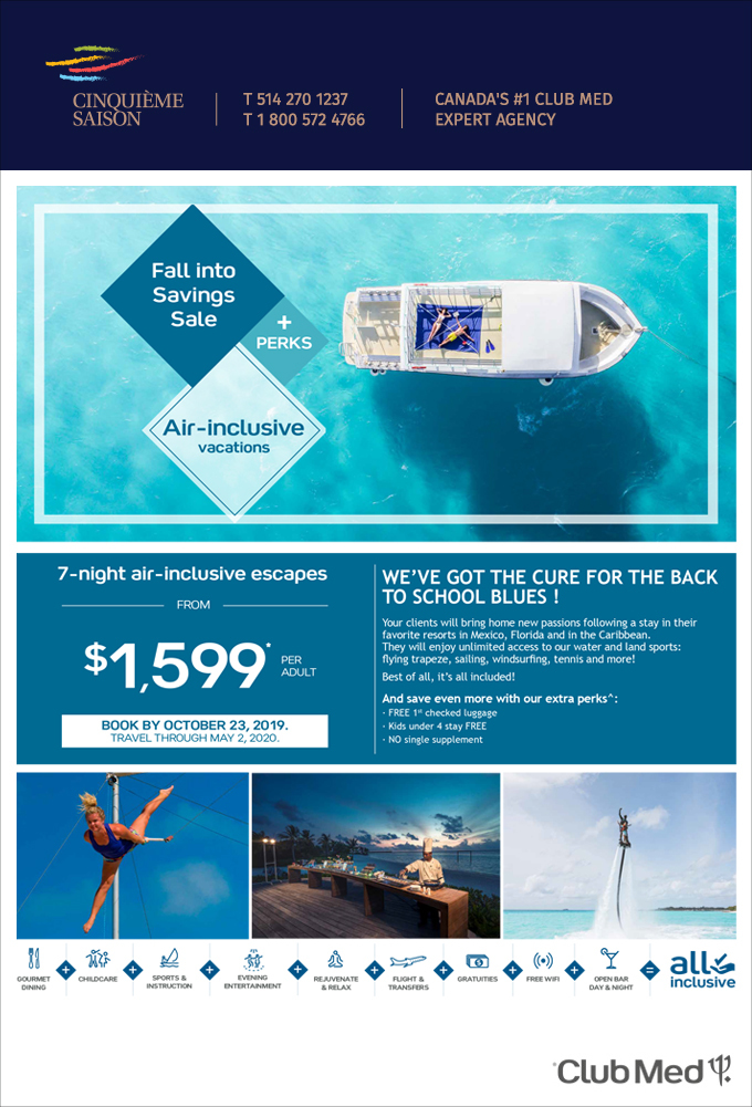 FALL INTO SALE <br> CLUB MED