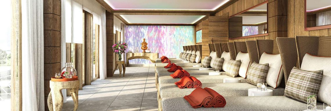 Club Med Alpes d'Huez in France - Interior of a relaxation zone topped by storefront windows
