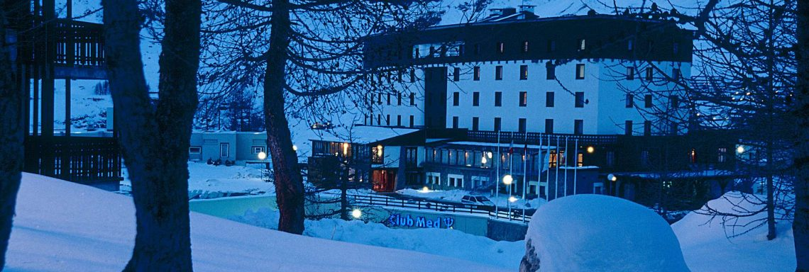 Club Med Cervinia, Italy - View of the complex through the wood during the night