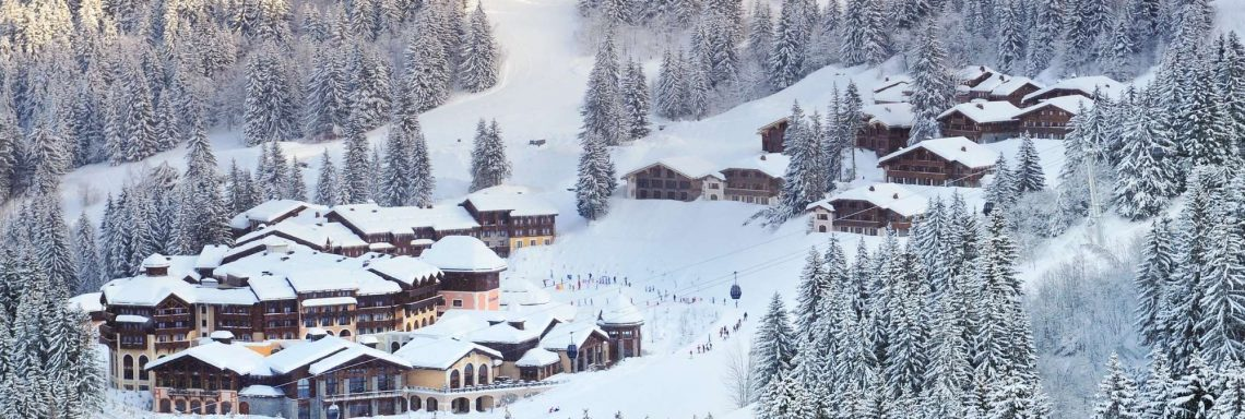 Club Med Valmorel, France - Aerial view of the snow-covered Club Med