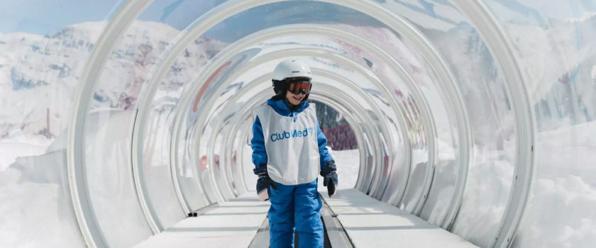 Club Med Arcs Panorama, in France - Image of a child learning the basics of skiing, available in the Snow Garden