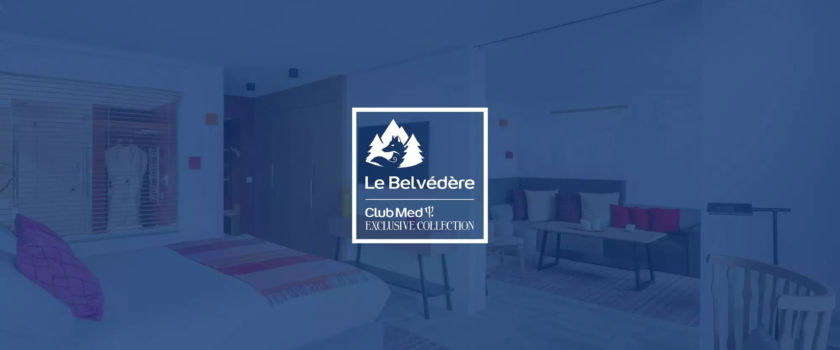 Club Med Arcs Panorama, in France - Photo of the Le Belvédère Exclusive Collection's logo on a blue background