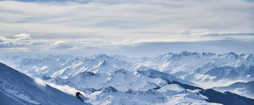 Club Med Arcs Panorama, France - Aerial view at the top of the mountain, full arches