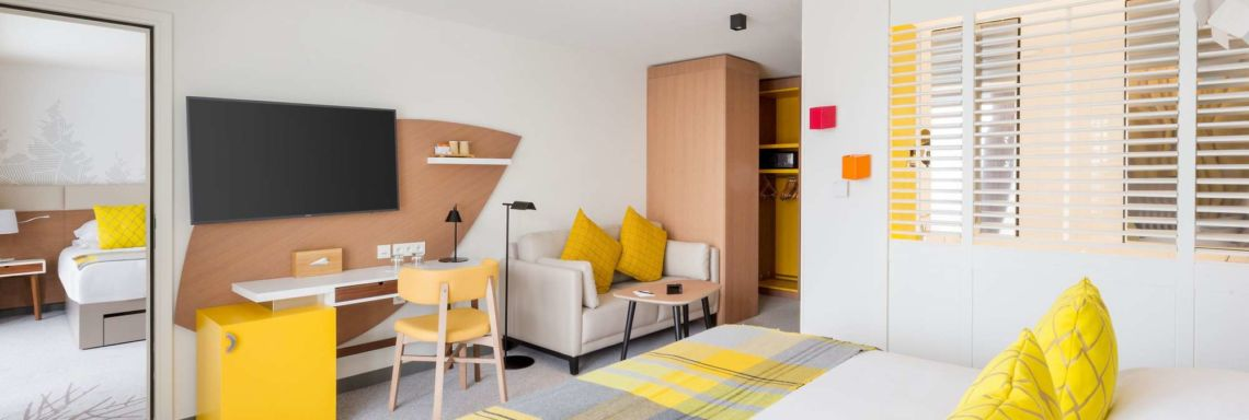 Interior view of a yellow double room