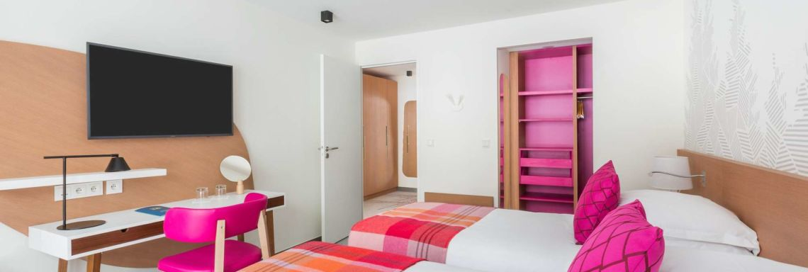 Interior view of a pink double room
