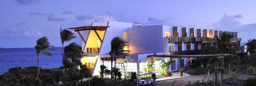 Club Med Cancun Yucatan, Mexico - The illuminated evening resort.