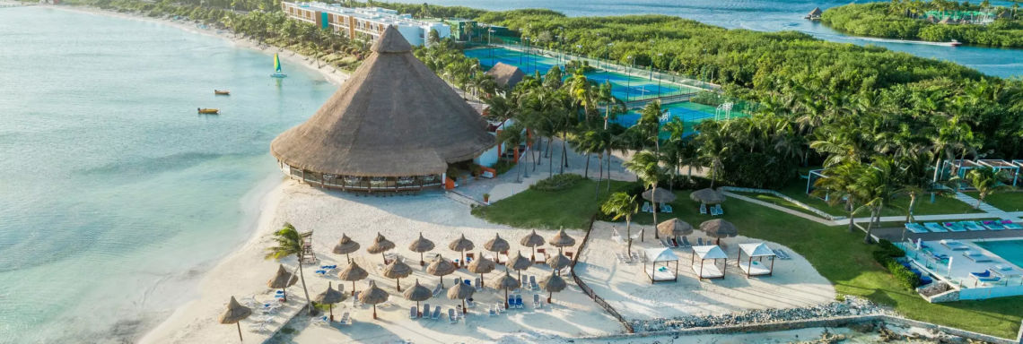 Club Med Cancun Yucatan, Mexico - Aerial image of the resort and the surrounding island