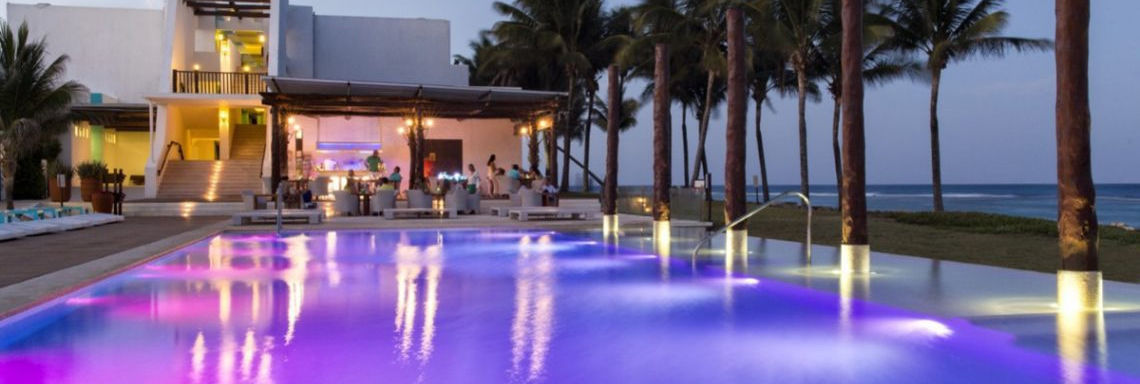 Club Med Cancun Yucatan, Mexico - Evening image of the swimming pool