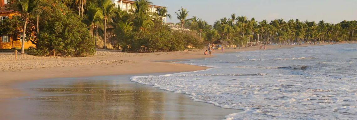Club Med Ixtapa Pacific, Mexico - View of the beach surrounding the resort at sunset