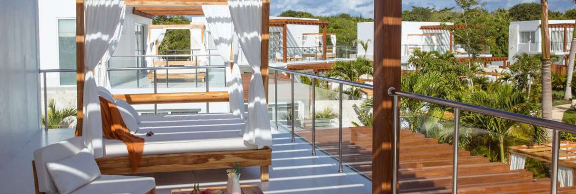 Club Med Punta Cana, Dominican Republic - View of the modern wooden terrace of the Zen Garden