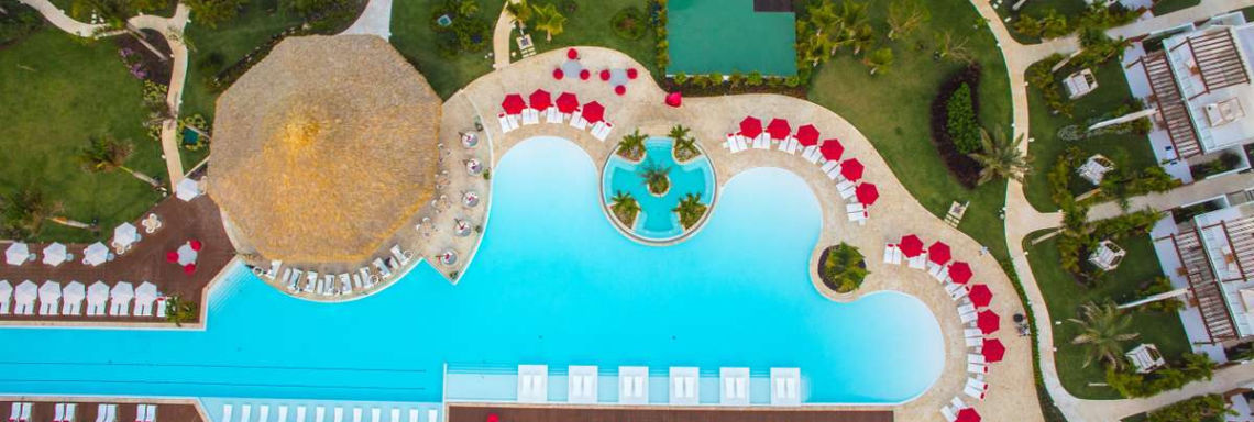 Club Med Punta Cana, Dominican Republic - Aerial view of the swimming pool in the Oasis garden
