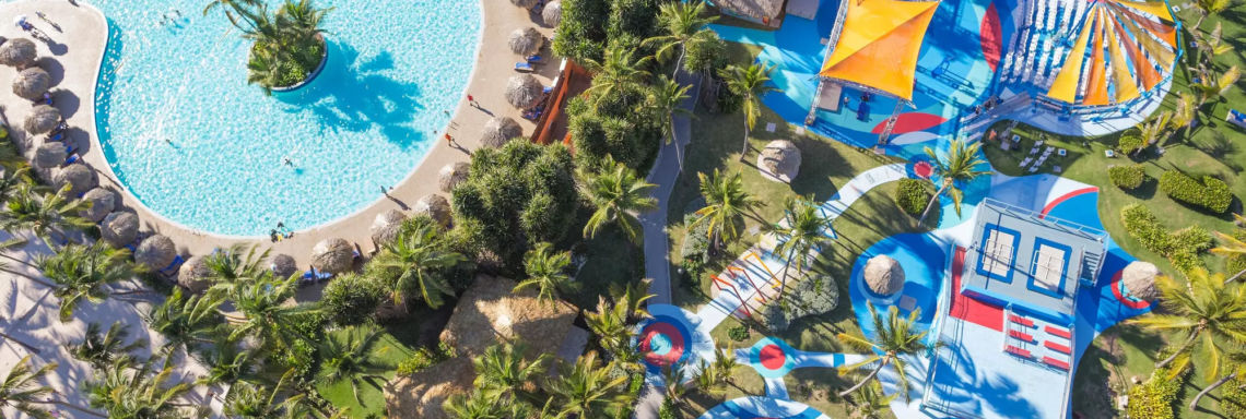 Club Med Punta Cana, Dominican Republic - Aerial image of the complex pool and the circus school